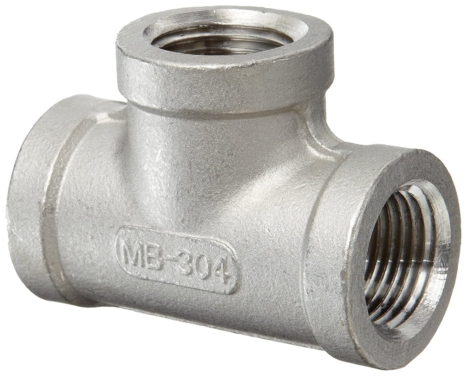 Stainless Steel 304 Cast Pipe Fitting 1 NPT Female Tee ISO 49 K406-16 Class 150
