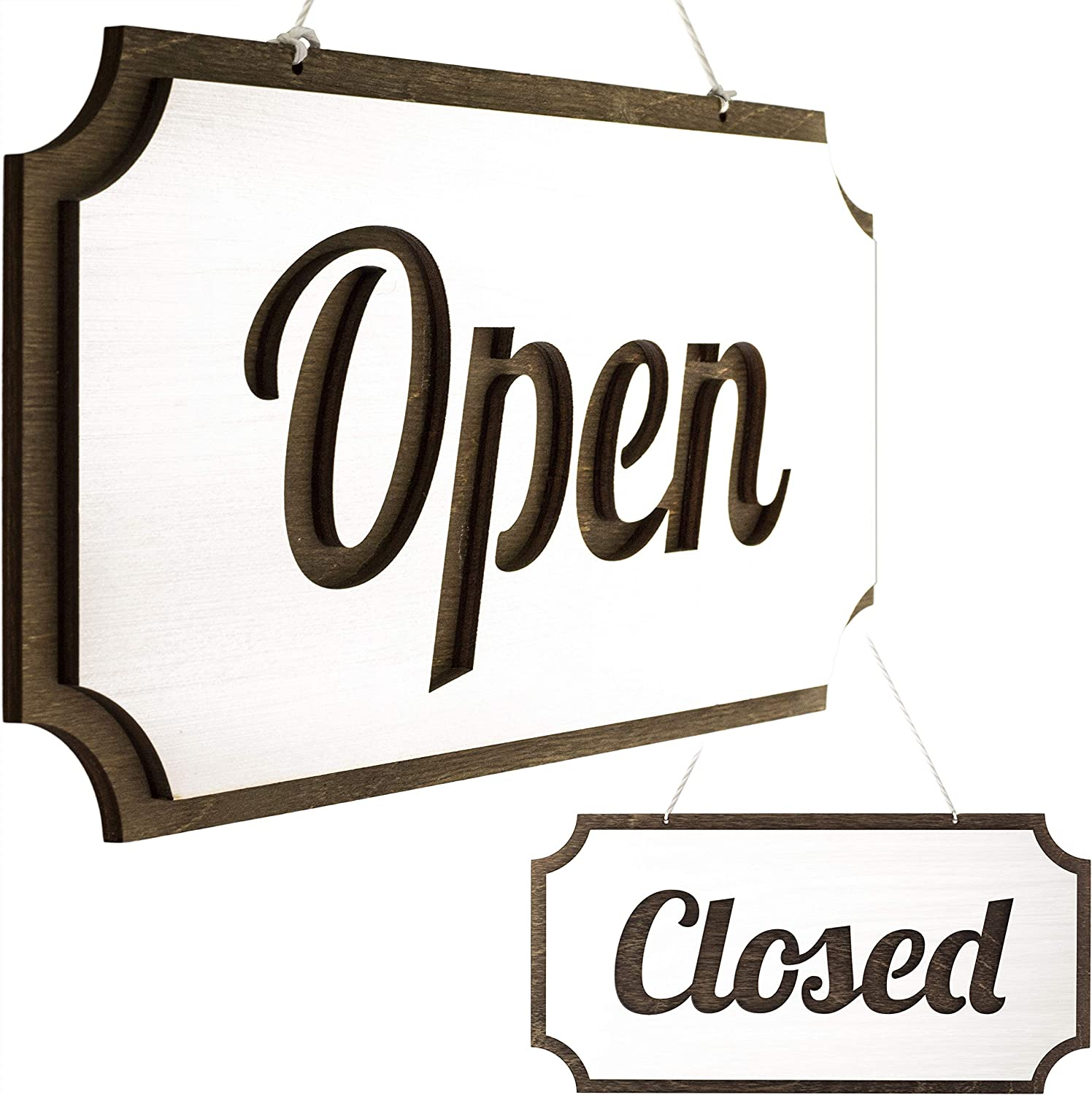 Rustic Wooden Open Closed Sign - Double-Sided Open Sign - Vintage Style Wood Closed Sign - Open and Closed Sign for Business - Decorative Open-Closed Sign 12 х 6 Inches