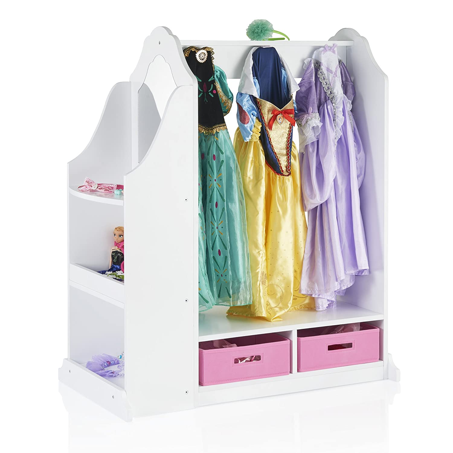 Guidecraft Dress up Vanity – White: Dresser, Armoire with Storage Bins and Mirror for Kids, Toddlers Playroom Organizer, Children Furniture G99420