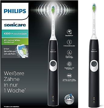 Philips Sonicare ProtectiveClean 4300 elektrische Zahnbürste HX680028 – Schallzahnbürste mit Clean Putzprogramm, 2 Intensitäten, Andruckkontrolle &