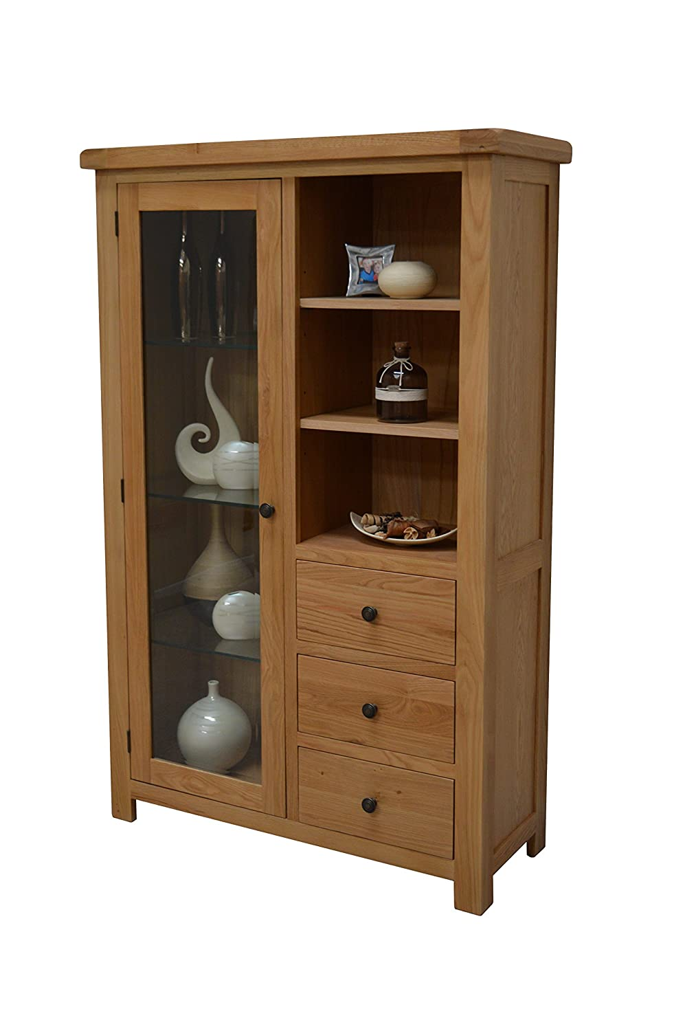 Light Oak Living Room Furniture Camberley Oak Glass Display Cabinet Includes Three Glass Shelves