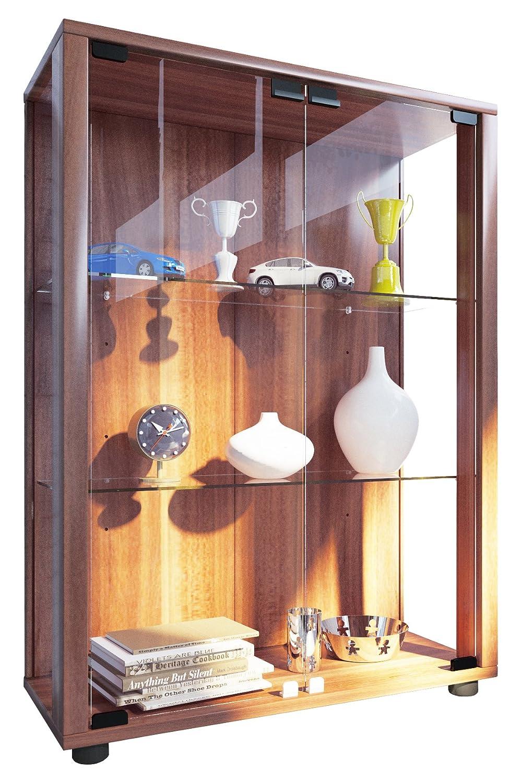 VCM 911995 Sintalo Vitrine Indépendante sans Éclairage LED Bois-Verre Coeur de Noyer 80 x 60 x 25 cm