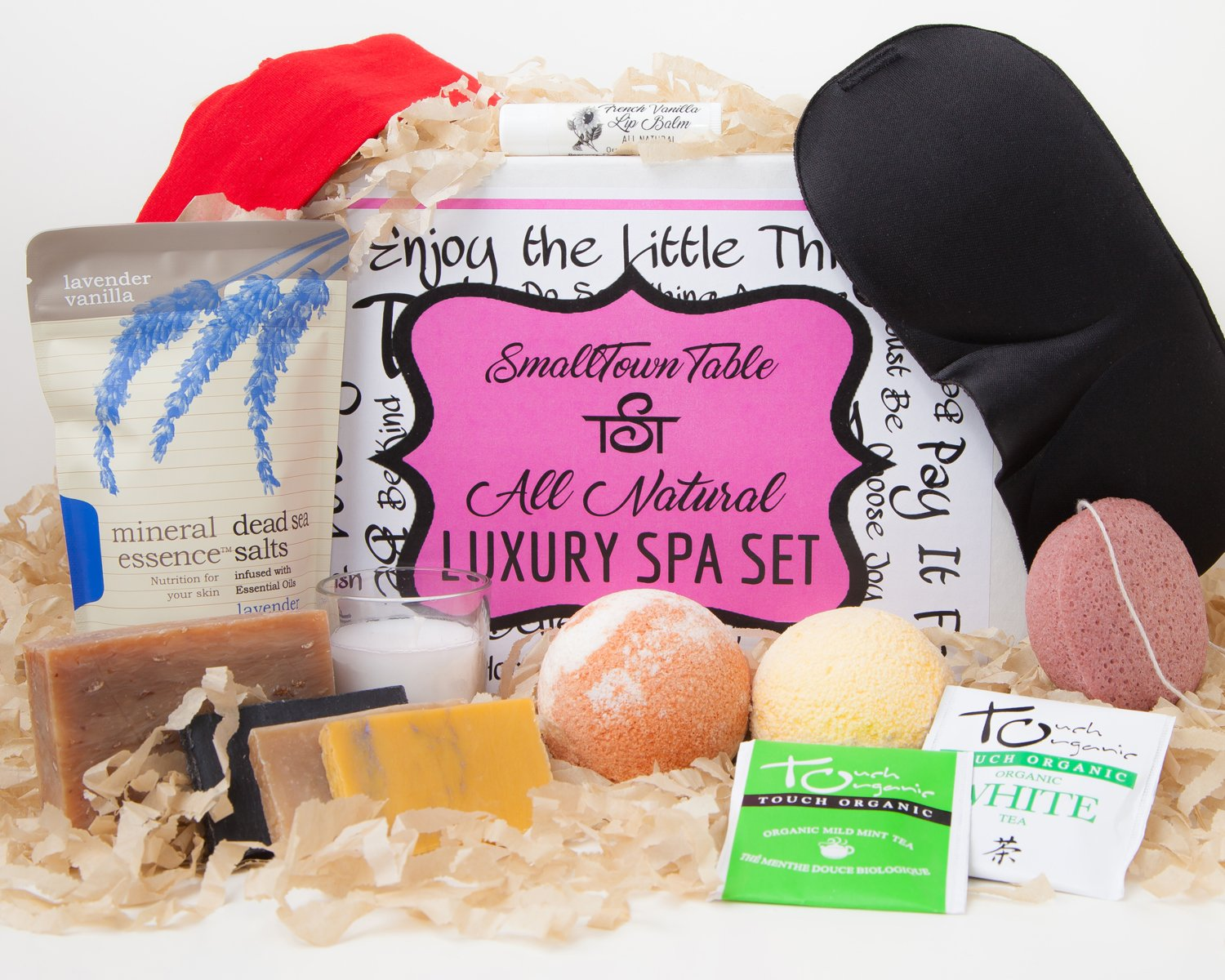 Spa Kit Relaxation Gift Set Two Bath Bombs, Bath Salt, All Natural Handmade Soaps, Konjac Sponge, Sleep Mask, Lip Balm, Candle, Tea, Headband, Upscale Bath and Body Spa Package Organic