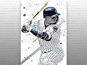 Javier Baez Poster Print, Chicago Cubs Poster, Baseball Wall Art, Baseball Print, MLB Wall Decor, Sports Posters, Man Cave Gifts, MLB Poster
