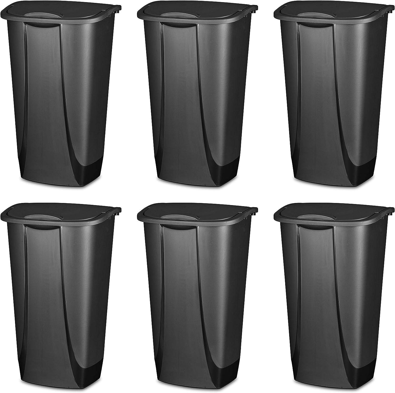 Sterilite 10939006 11 Gallon/42 Liter SwingTop Wastebasket, Black, 6-Pack