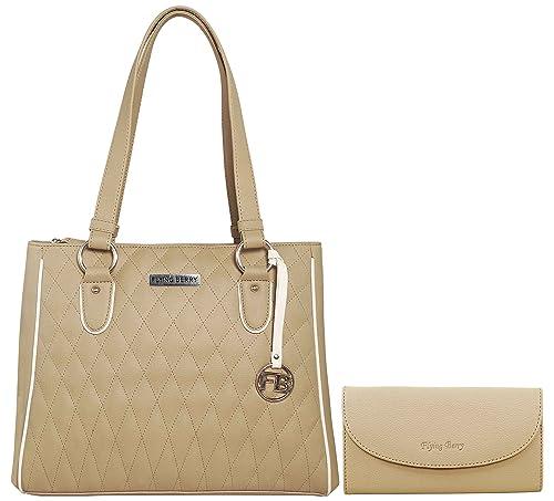 eaa2268374 Flying Berry Women s Combo Of Handbag With Clutch (Beige