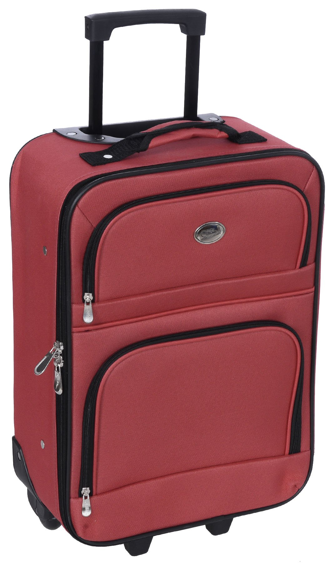 Jetstream 20 Inch Lightweight Luggage Softside Carry On Suitcase (Red)