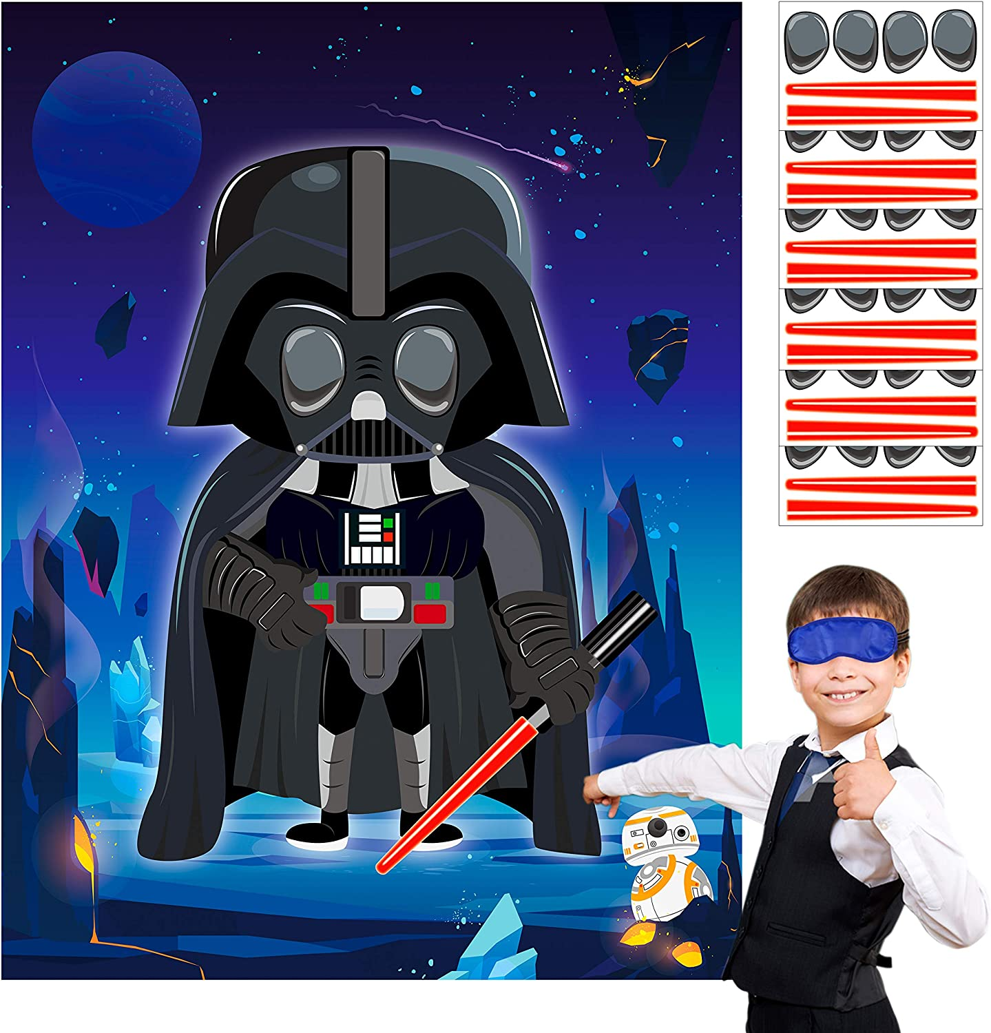 MALLMALL6 Galaxy Wars Stickers Party Games for Kids Pin The Eyes and Light Saber On The Darth Outer Space Wars Birthday Party Favors Universe Planets Party Supplies Decorations Pin Game with Blindfold