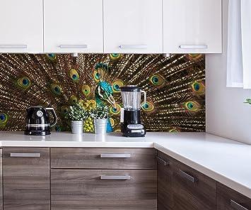 Cocina Pared Trasera Hermoso Pavo Real Design M1005 160 x 60 cm (W x H) - 3 mm de Aluminio ...