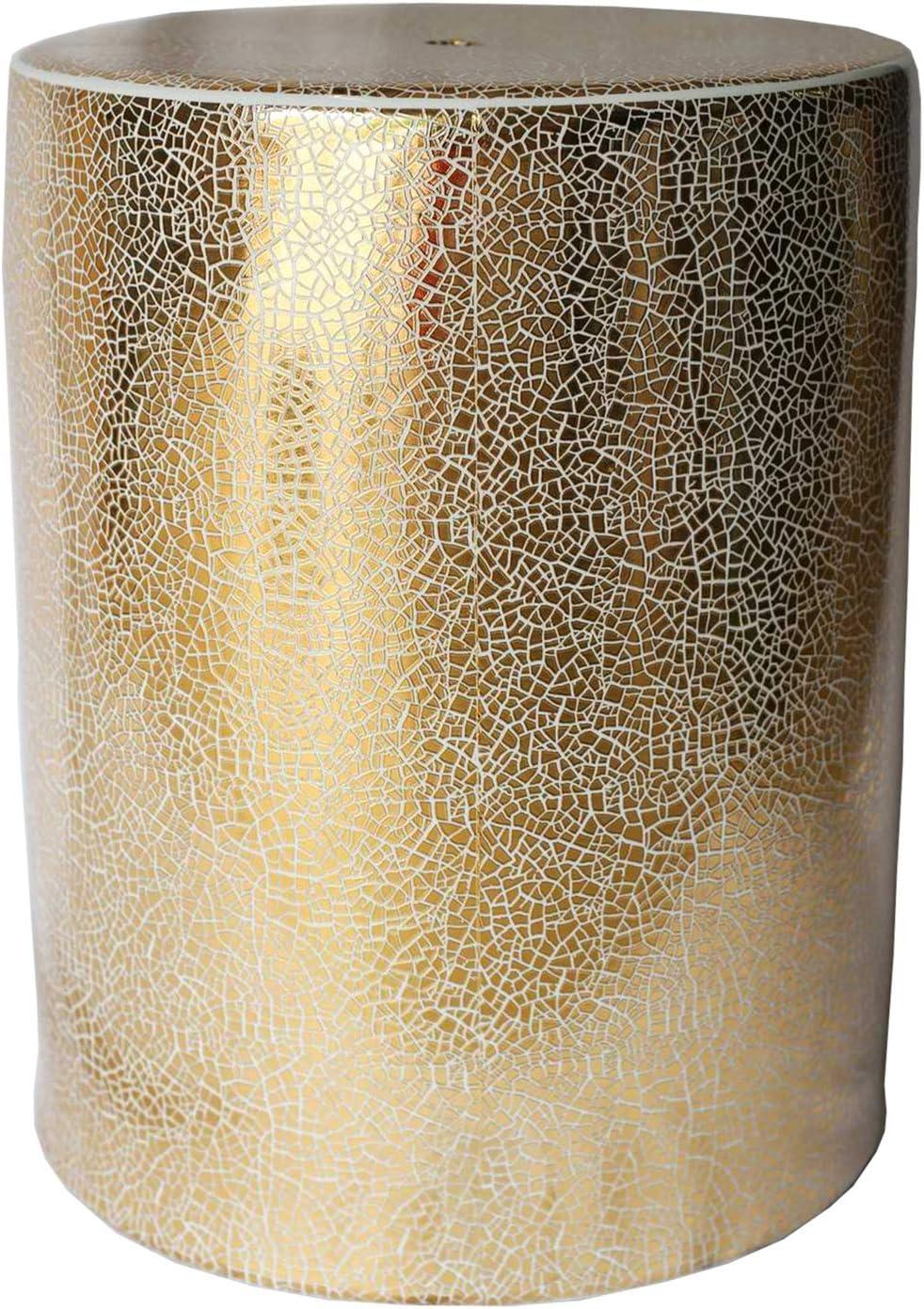 """Sagebrook Home 13168-01 Ceramic Garden Stool, 13.5"""" x 13.5"""" x 18"""", White/Gold"""