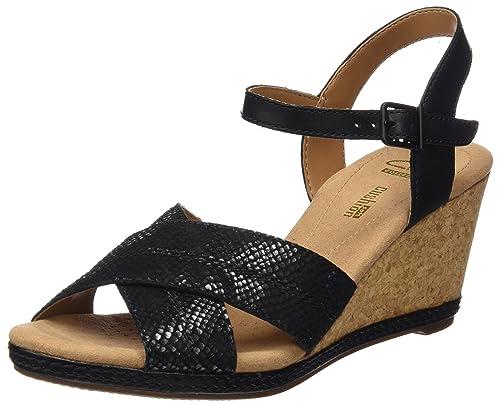 2bd680d6e0be Clarks Women s Helio Latitude Black Leather Fashion Sandals - 6 UK India  (39.5 EU