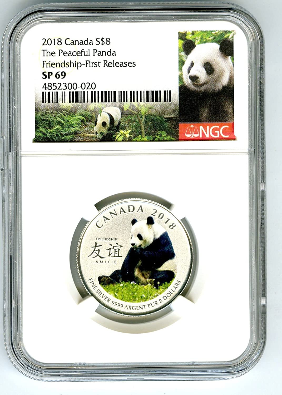 2018 1//4 OZ $8 Pure Silver Coin Canada The Peaceful Panda