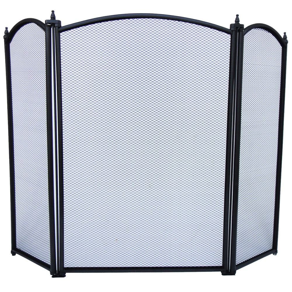 Home Discount® Selby 3 Panel Fire Screen Spark Guard, Black