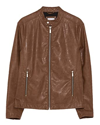 2a1ff43c Zara Men Faux Leather Jacket 8281/460 at Amazon Men's Clothing store: