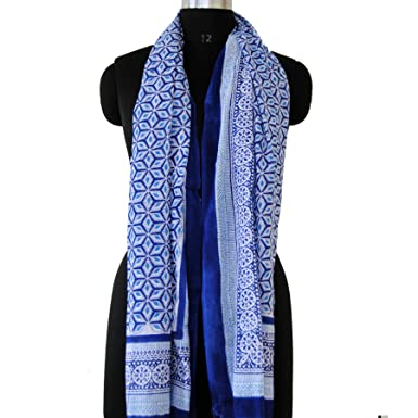 3d0aef1939801 Image Unavailable. Image not available for. Color: Blue Color Indian Block  Print Cotton Scarves Beach Cover up Neck Wrap Pareo Women Long Soft