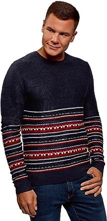 oodji Ultra Hombre Jersey con Cuello con Botones