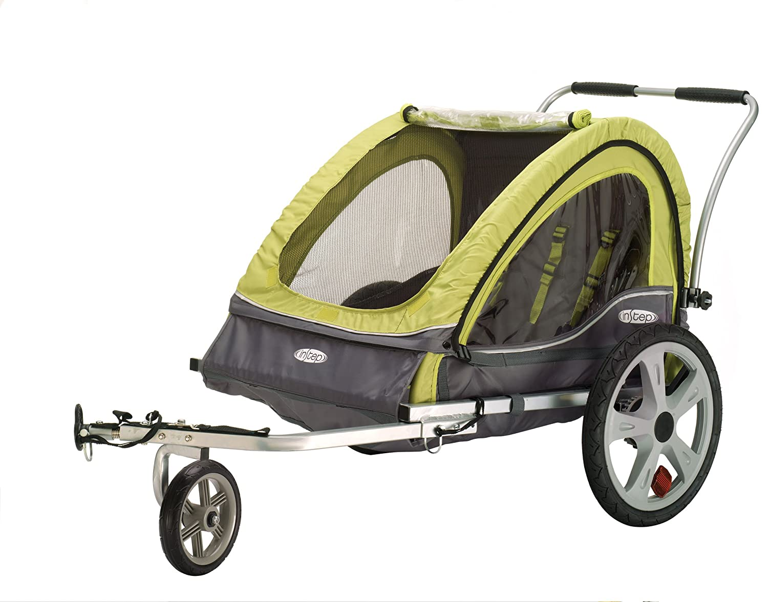 InStep Sierra Double Seat Foldable Tow Behind Bike Trailers, Converts to Stroller/Jogger, Featuring 2-in-1 Canopy and 20-Inch Wheels, for Kids and Children, Multiple Colors Available