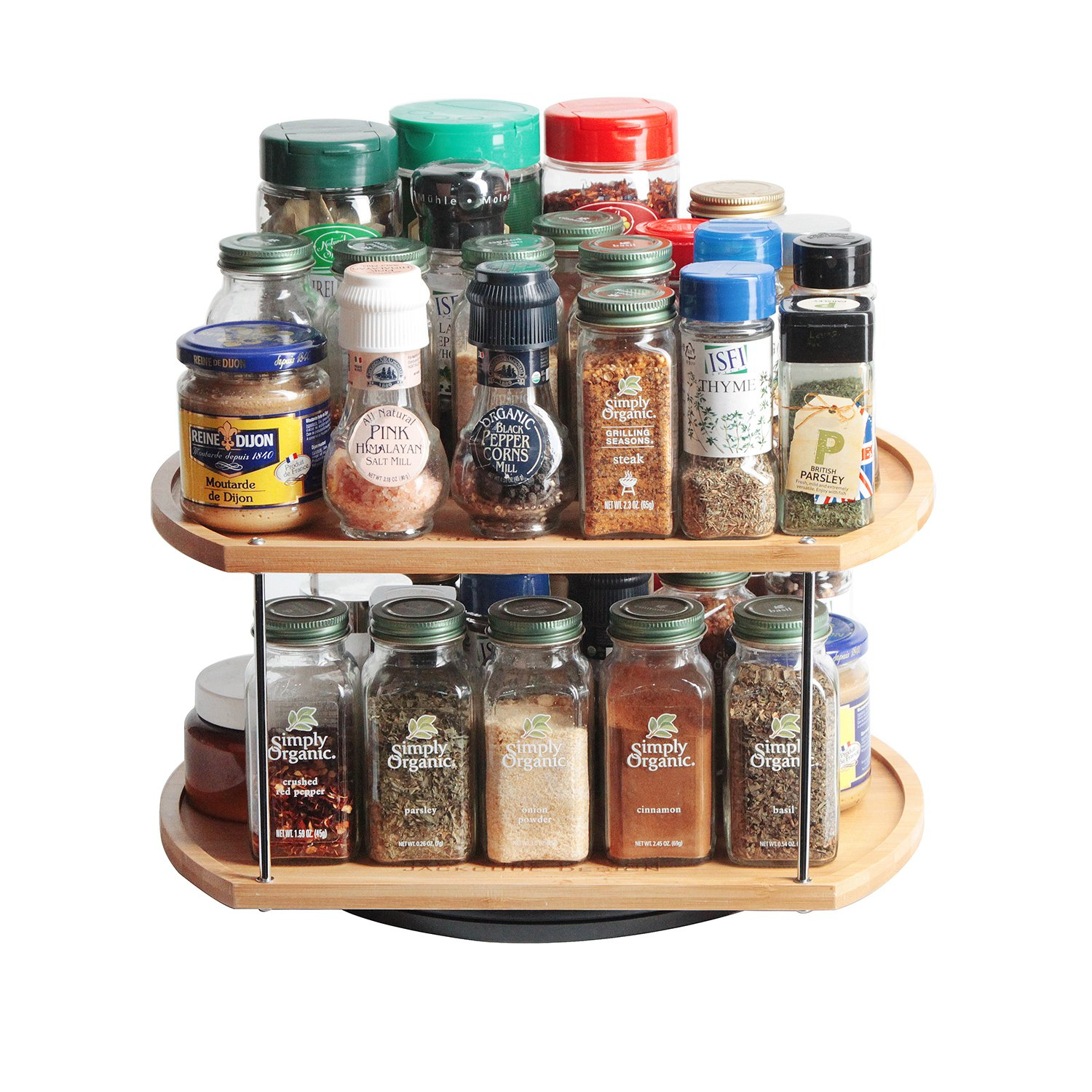 JackCubeDesign 360 Rotating Lazy Susan Bamboo Spice Jar Rack Kitchen Countertop Display Organiser Spice Bottle Worktop Holder Stand Shelf with Stunning 2 Tier(35.6 x 29.8 x 18.2 cm) – :MK383A