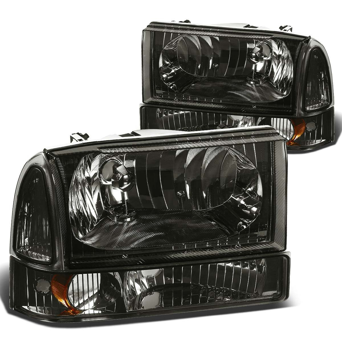 Driver and Passenger Side DNA MOTORING HL-OH-F99SD4P-BK-AM Headlight Assembly