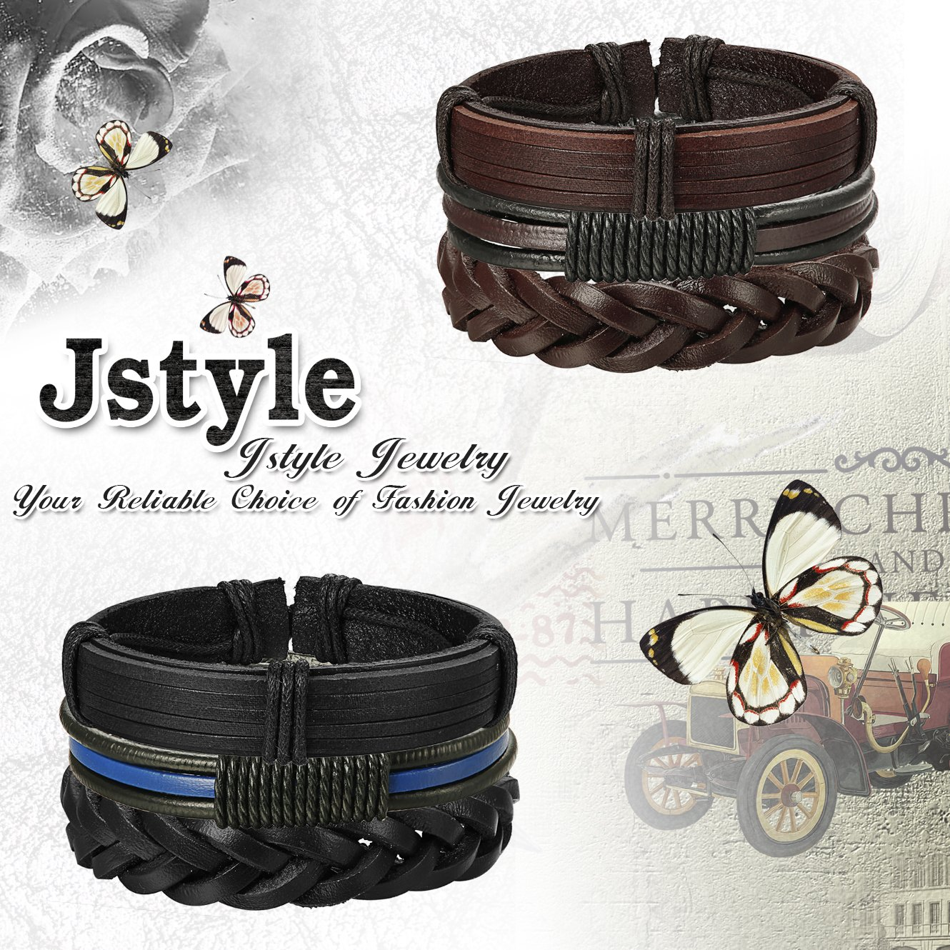Jstyle 12Pcs Braided Leather Bracelet for Men Women Cuff Wrap Bracelet Adjustable Black and Brown (A:12Pcs) by Jstyle (Image #5)