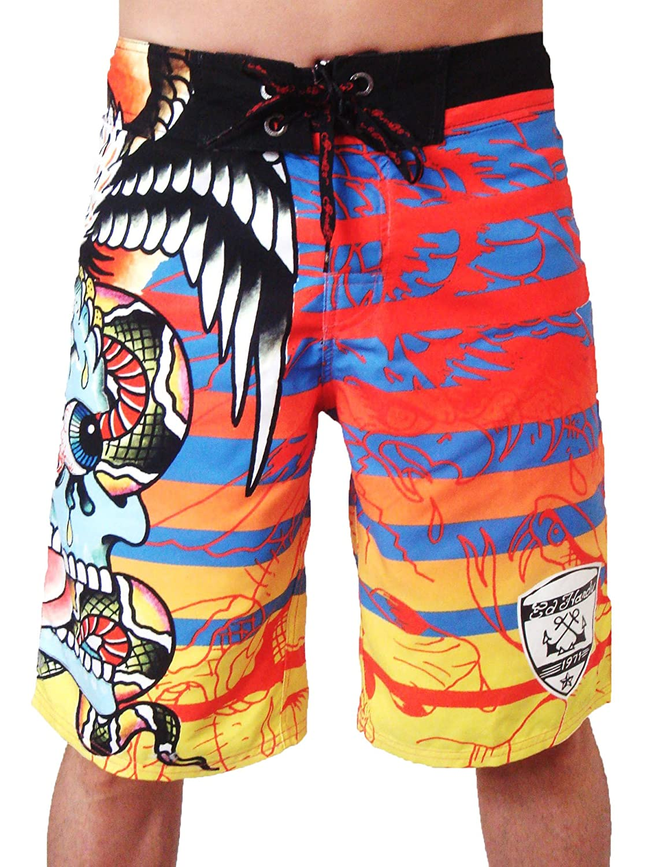New Ed Hardy Surreal Stripes Board Shorts Swim Surf Trunks (33)