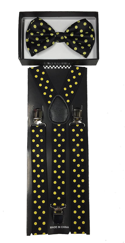 c9362e055 Amazon.com  Colors Polka Dot Men Women Bow Tie   Suspender Formal Tuxedo  Wear (Black)  Health   Personal Care