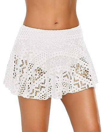 52baf216c31ca ACKKIA Women s Lace Crochet Skirted Bikini Bottom with Brief Beige Short  Swim Skirt Swimsuit Size S