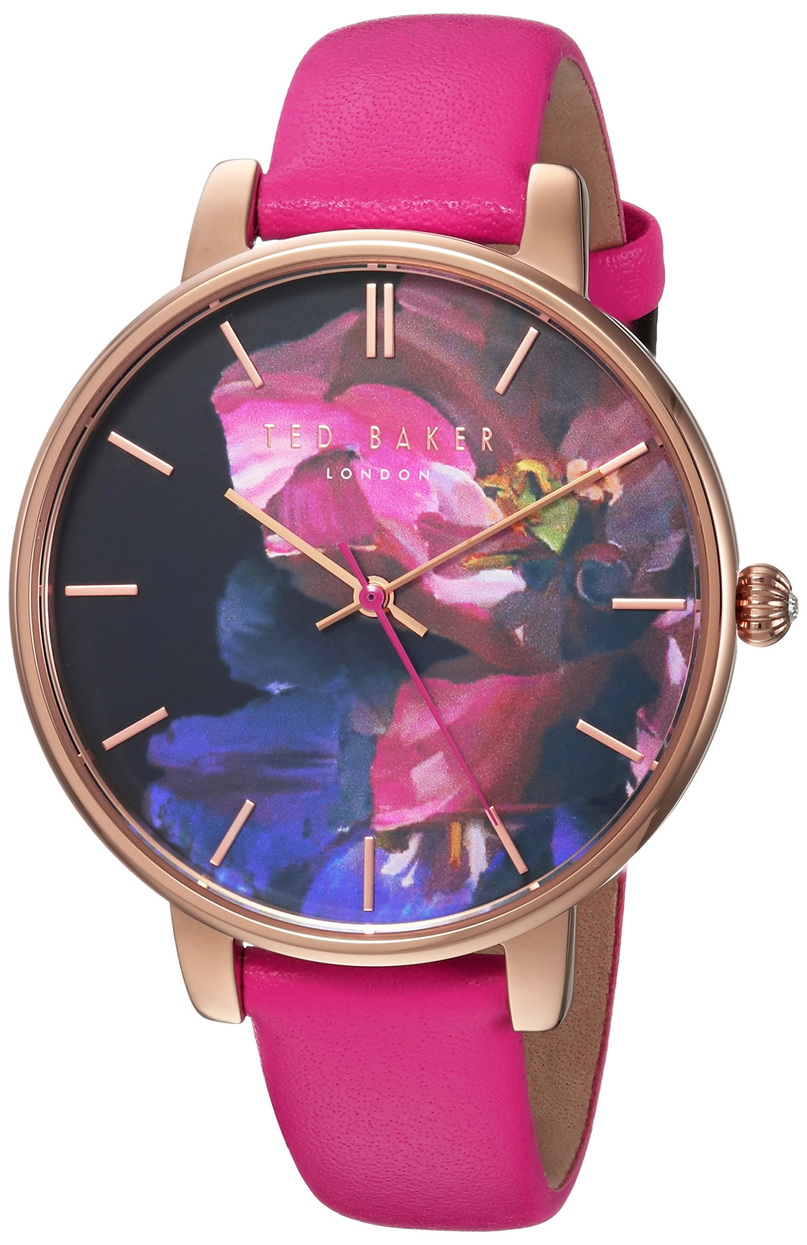 Ted Baker Women's 'KATE' Quartz Stainless Steel and Leather Casual Watch, Color:Red (Model: TEC0025014)