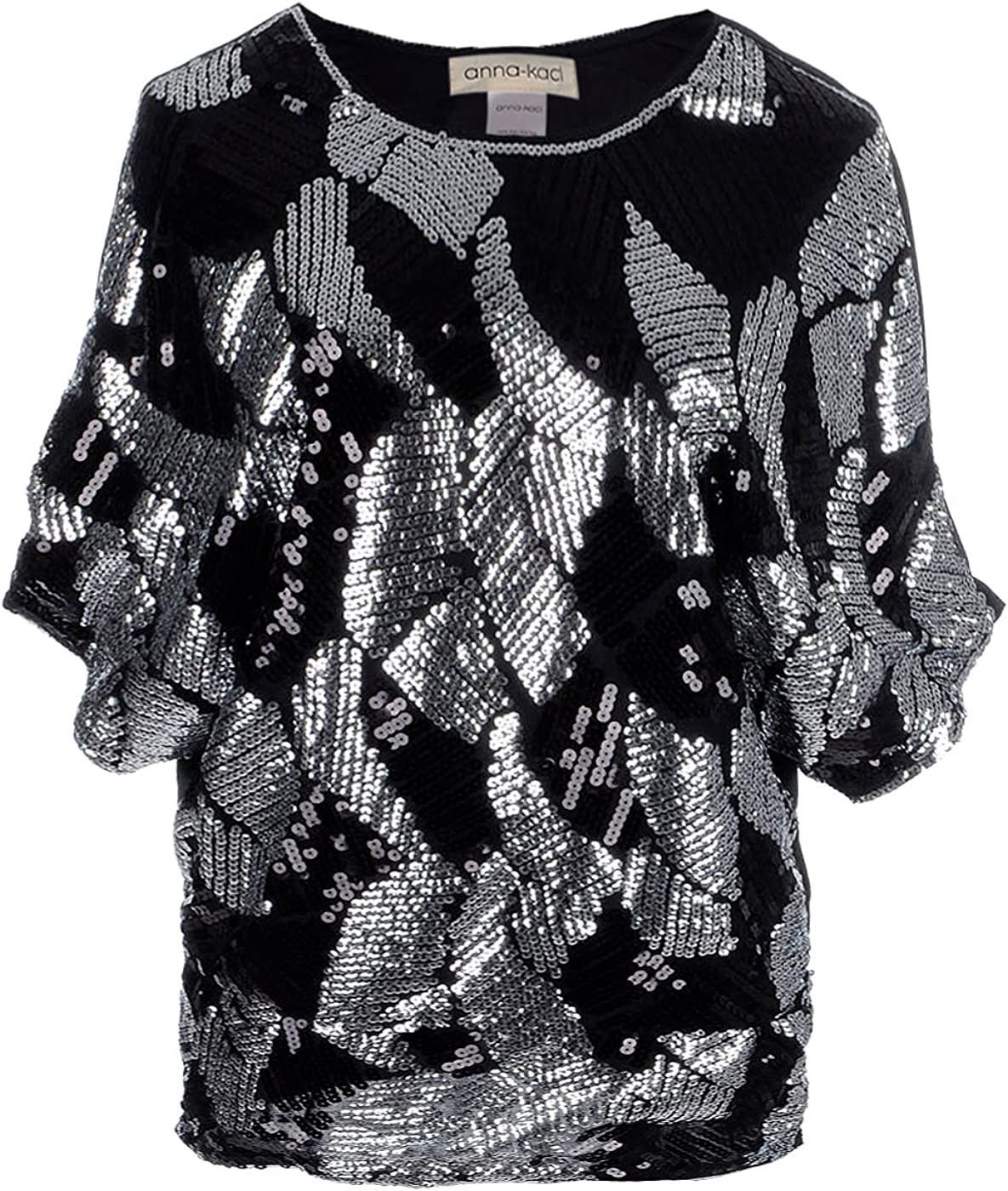 Black Sequin Bling Shiny Tank Top Cut Out Cold Shoulder T Shirt Blouse Evening