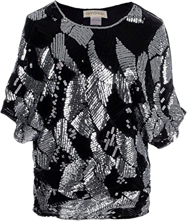 Women Summer Loose Fit Sequin Dolman Sleeve T Shirts Fashion Casual Scoop Neck Sparkly Tank Tops Tees