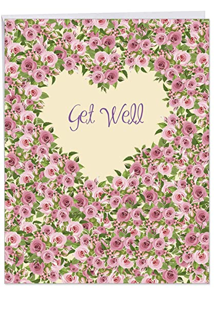 BIG Get Well Soon Wishes Greeting Card W Envelope