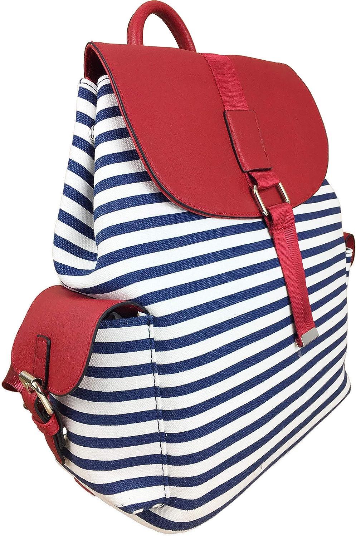 Mochila grande de lona expandible para la playa, bolsa de bebé, lona de rayas náuticas con solapa de contraste y múltiples bolsillos, ideal para la playa y vacaciones, etc.