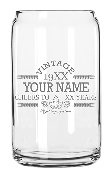 Customized Beer Can Glass Personalized Birthday Beer  Glass Engraved Vintage Cheers