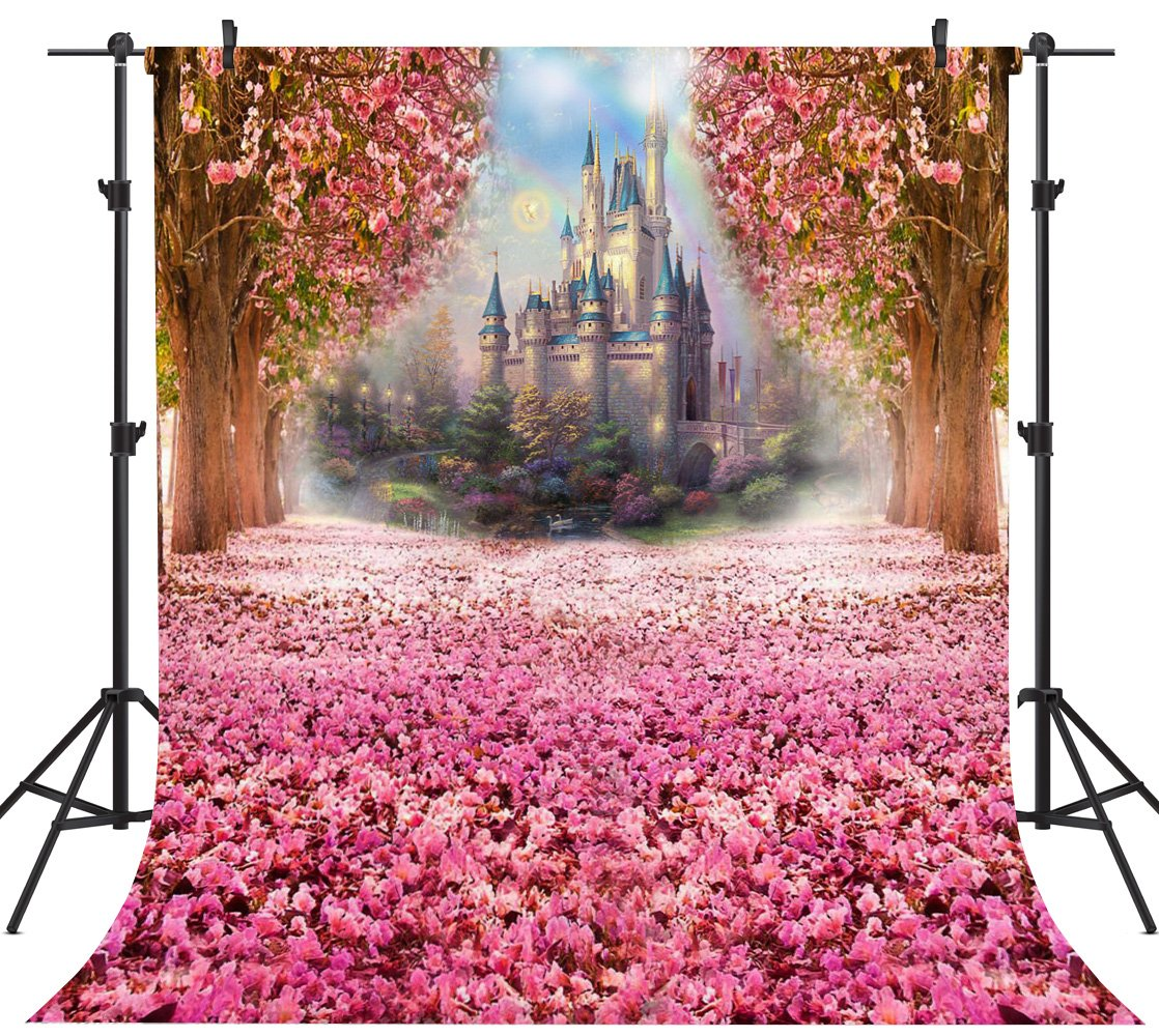 OUYIDA 8X8Ft Seamless Castle In Cherry Blossom CP Pictorial Cloth Photography Background Computer-Printed Vinyl Backdrop PCK01B