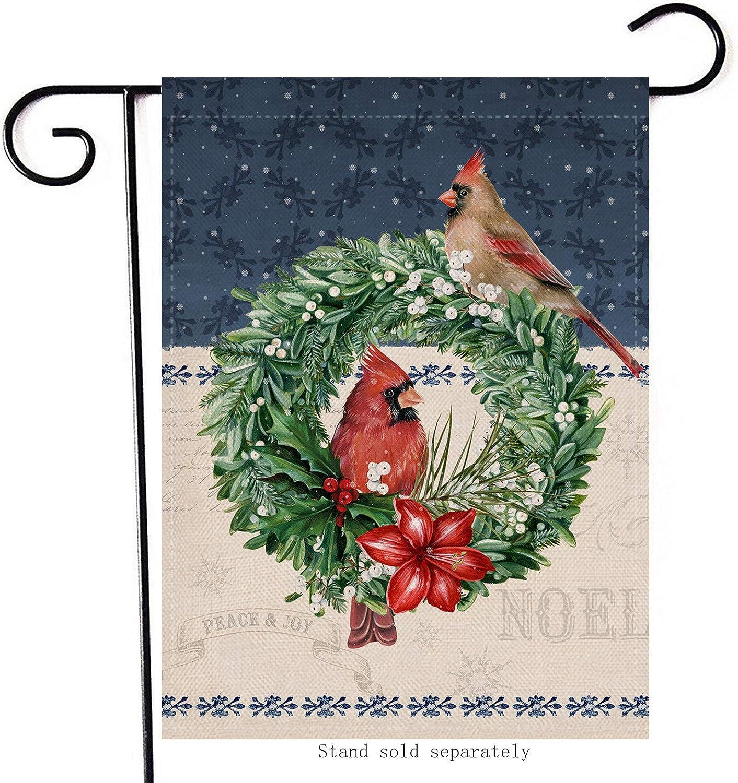 Hzppyz Christmas Wreath Home Decorative Garden Flag, Merry Xmas Cardinal Birds House Yard Noel Decor Flag Double Sided, Winter Holiday Outside Welcome Decorations Farmhouse Outdoor Small Flag 12 x 18