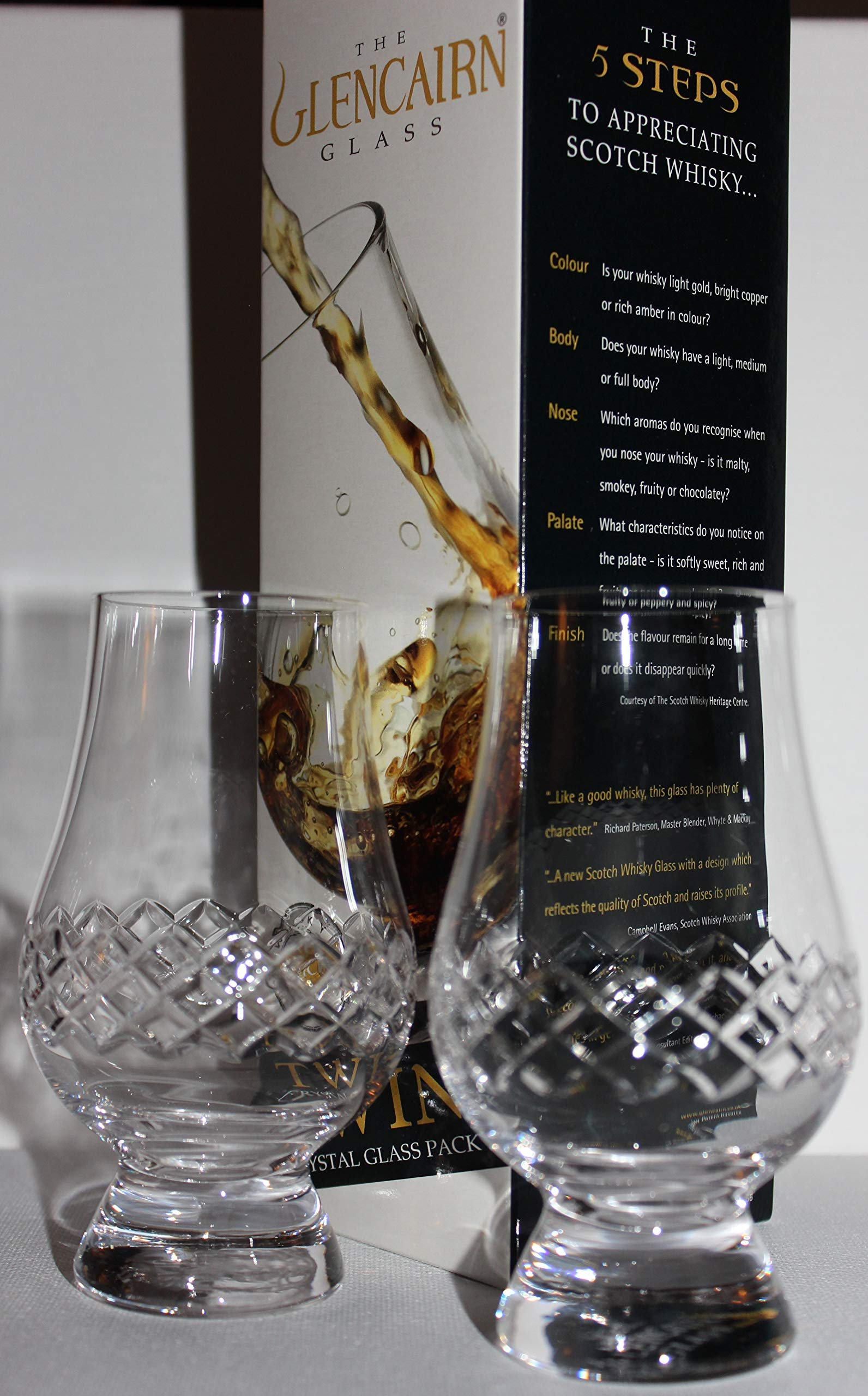 THE GLENCAIRN DIAMOND CUT TWIN PACK GLENCAIRN SCOTCH MALT WHISKY TASTING GLASSES