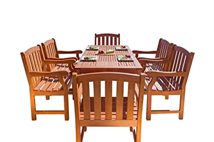 Vifah V98SET29 Outdoor Seven Piece Wood Dining Set With English Garden  Dining Table And 6