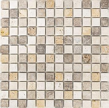 Mosaique Carrelage Pour Salle De Bain Cuisine Douche En Pierre Travertin  Beige Marron Jaune/Travertin