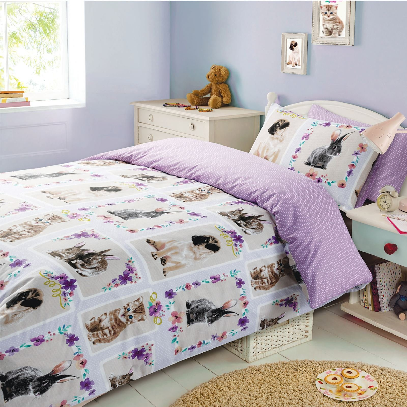 Pet Love 2 Piece UK Double /US Full Sheet Set 1 x Double Sided Sheet and 2 x Pillowcases Multi