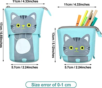 Details about  /2 Pieces Transformer Stand Store Pencil Holder Canvas PU Cartoon Cute Cat Tel...