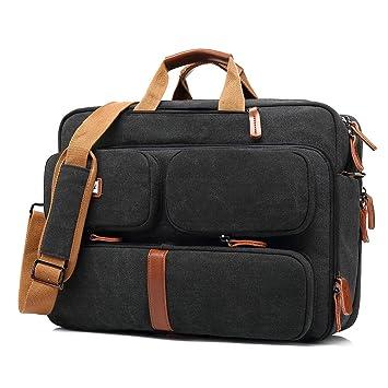 Srotek 5601 - Bolso Bandolera de Nailon para Hombre, Convertible en maletín para Ordenador portátil