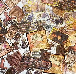 60PCS Foil Gold Scrapbook Stickers, Doraking DIY Decoration Big-Shots Medieval Ages Washi Stickers for Scrapbook, Decoration, Notebooks, Suitcase (Medieval Ages,60PCS/Pack)