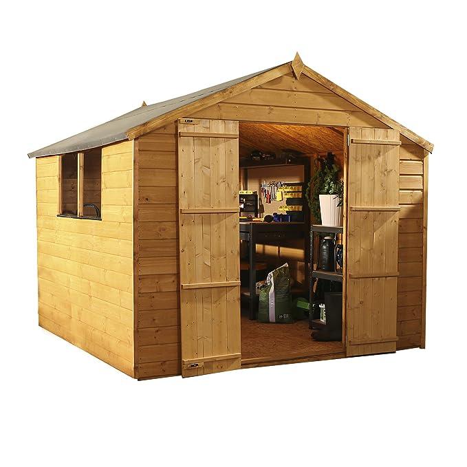 8 x 8 traslapadas de madera cobertizo y#x2666; Puerta doble y#x2666; Ápice indipc fieltro y piso y#x2666; Ventanas: Amazon.es: Jardín