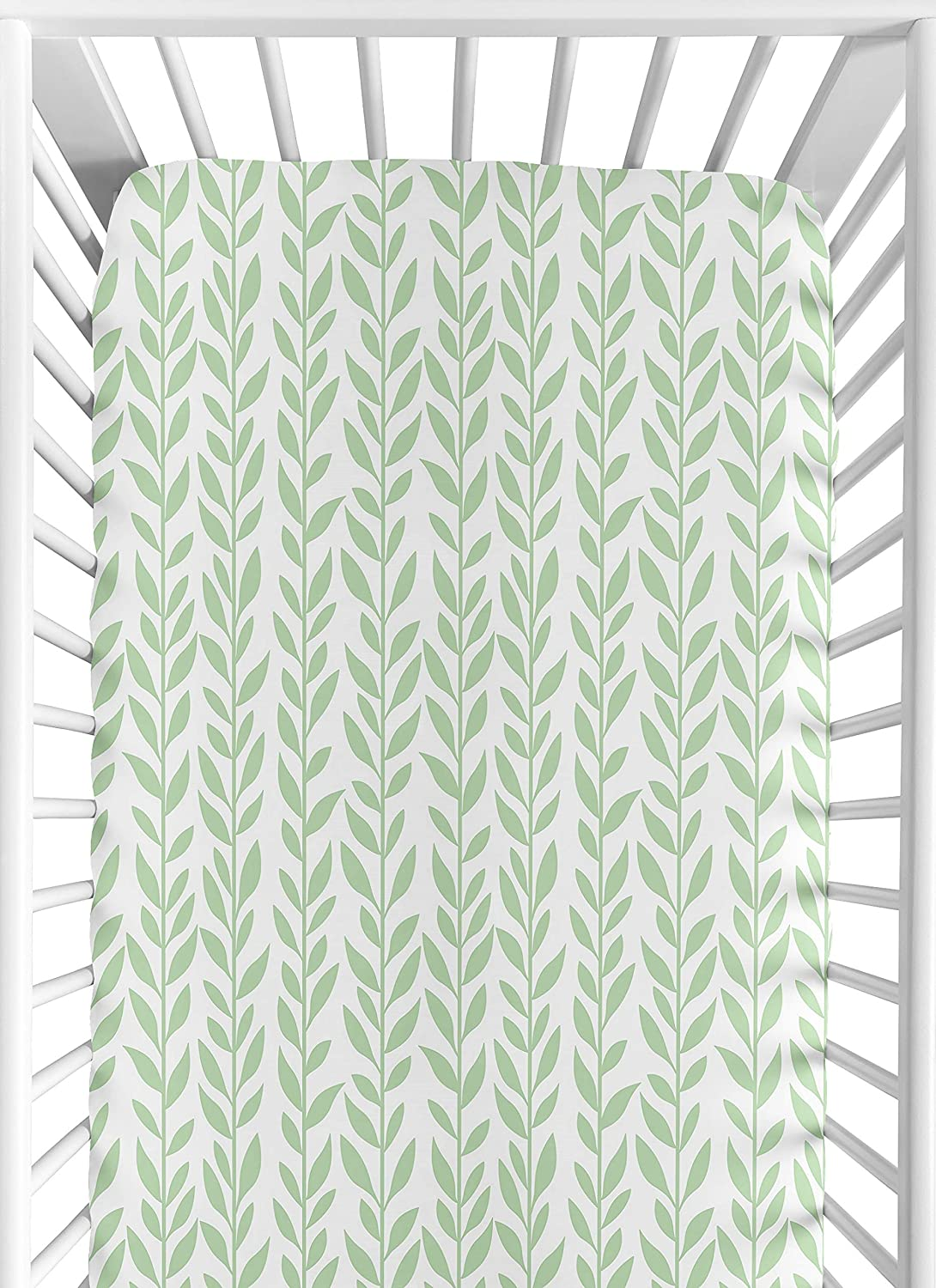 Sweet Jojo Designs Green and White Leaf Floral Girl Baby or Toddler Nursery Fitted Crib Sheet - Boho Farmhouse Sunflower Collection