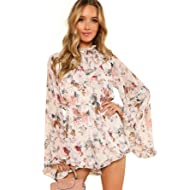 2010f76dbd4 Romwe Women s Floral Printed Ruffle Bell Sleeve Loose Fit Jumpsuit Rompers