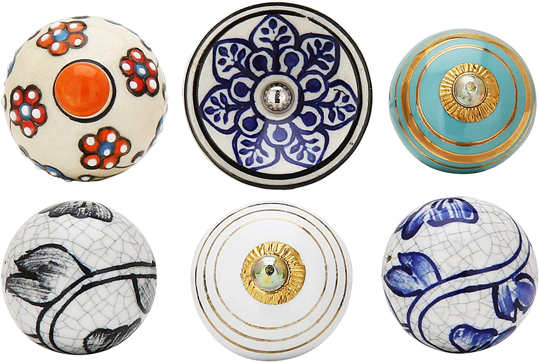 Tiroirs Armoires Et Porte Battante Pour Portes Vintage Indieen Handmade Lot De 10 Bouton De Porte En C/éramique-Poignee De Porte Motifs Vari/és Fait Main