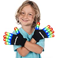 The Noodley Children LED Light Gloves Cool Toys Boys Girls & Kids Gift and Game (Black, Small)