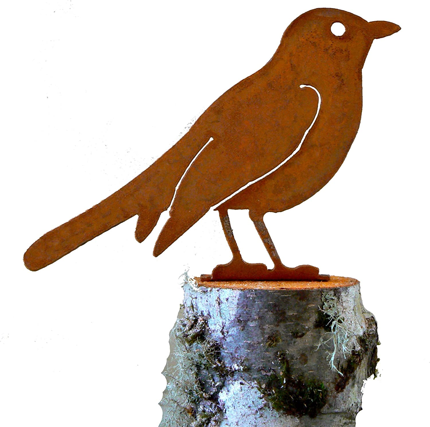 Elegant Garden Design Robin, Steel Silhouette with Rusty Patina