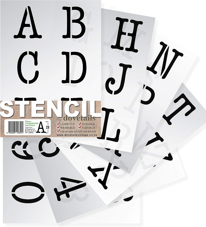altezza 10 cm molto grande maiuscole moderno su 9 fogli di 295 x 200 mm Con lettere dell alfabeto e numeri 0-9