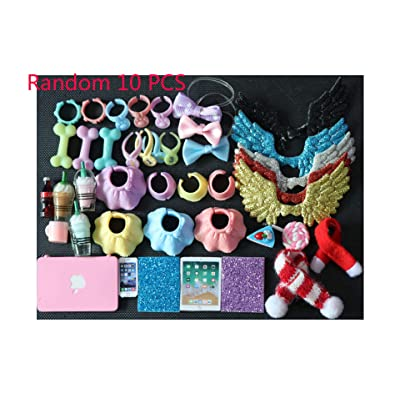 LPS Accessories Lot (Random 10 PCS Clothes Skirts Collars Food and Drink Wings Bow Scarf Phone Laptop Fit LPS Cat and Dog Collie Dachshund Cocker Spaniel Shorthair Cat: Toys & Games